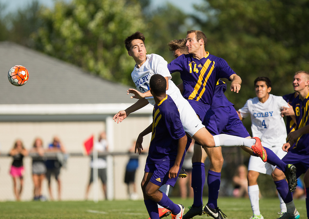 Lucas Pereira of Colby College attempts to head the ball during a NCAA Division III soccer game against Williams College on September 19, 2015 in Waterville, ME. (Dustin Satloff/Colby College Athletics)