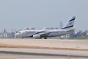 Israel, Ben-Gurion international Airport El Al Boeing 737-700 landing