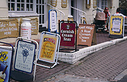 AE2KWE Row of signs for Cornish products Cornwall England