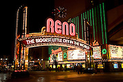 """The """"Biggest Little City in the World"""" sign, downtown Reno Nevada."""