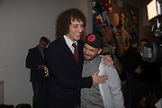DAVID LUIZ;  AND ARTIST RICARDO AXN, Steve Lazarides and Pepsi host a collaboration of Street Art, Photography and Football. Photos of footballers by Danny Clinch, paintings by 6 'leading street artists' Victoria House, Southampton Row. London. 17 February 2014.