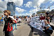 BERLIN, GERMANY - 26/06/2008 - TRAVEL, Children protest to raise funds at the German schools..cfr. Berlin, Germany, capital, children, school, Alexanderplatz..©Christophe VANDER EECKEN
