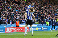 Sheffield Wednesday striker Fernando Forestieri (45) and Sheffield Wednesday defender Glenn Loovens (5) celebrate the second goal during the Sky Bet Championship match between Sheffield Wednesday and Cardiff City at Hillsborough, Sheffield, England on 30 April 2016. Photo by Ellie Hoad.