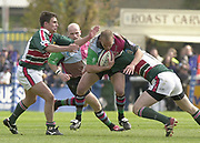 Twickenham, Surrey, England,  UK., 14/05/2003,  Nathan Williams, runs through the tackle, during, the Zurich Premiership Rugby match, NEC Harlequins vs Leicester Tigers, played at the Stoop Memorial Ground, [Mandatory Credit: Peter Spurrier/Intersport Images]