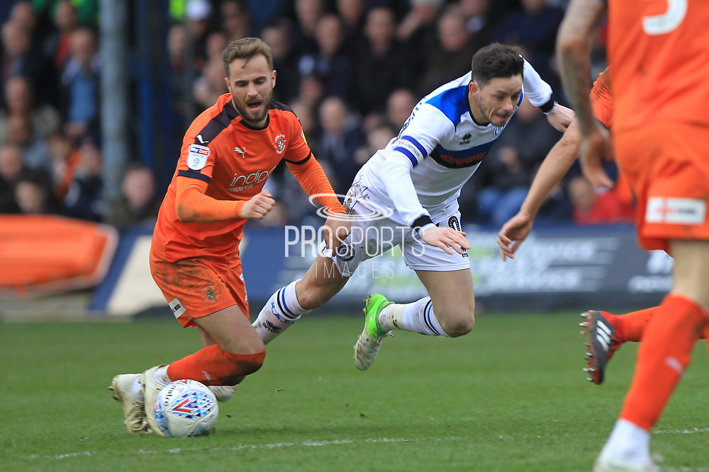 Ian Henderson makes a challenge during the EFL Sky Bet League 1 match between Luton Town and Rochdale at Kenilworth Road, Luton, England on 2 March 2019.