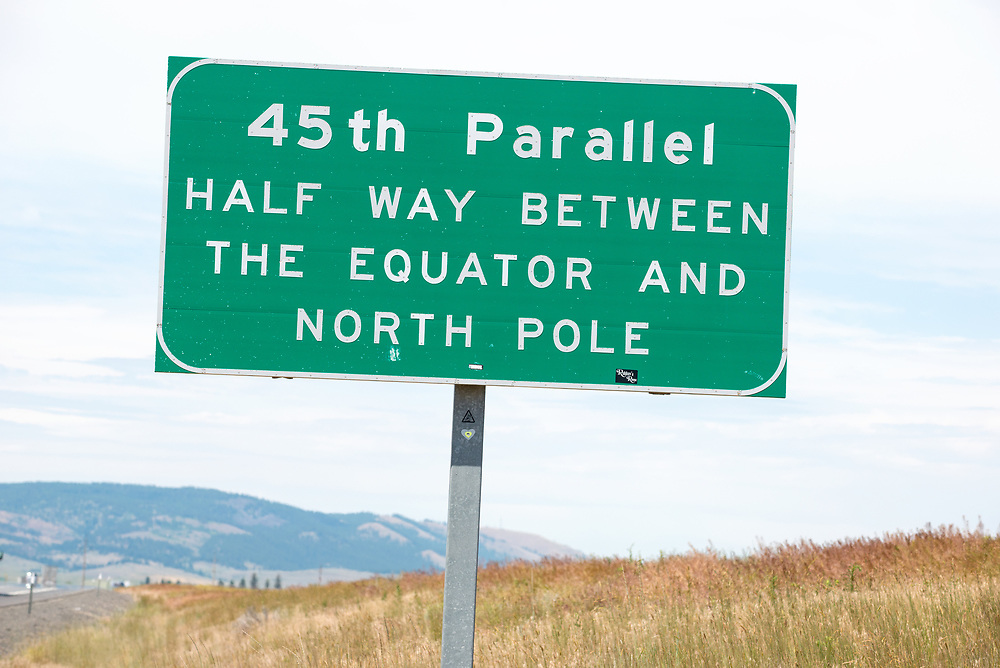 45th Parallel sign along Interstate 84 in Eastern Oregon.