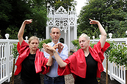 A rehearsal of Pablo Bronstein's (centre) ballet The Rose Walk is performed by classically trained dancers Rosalie Wahlfrid and Emilia Gasiorek (left) at the Jupiter Artland in West Lothian, which was commissioned for this year's Edinburgh Art Festival.