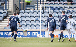 Raith Rovers Callum Booth scoring their second goal from a penalty.<br /> Half time : Raith Rovers 2 v 1 Falkirk, Scottish Championship game today at Starks Park.<br /> © Michael Schofield.