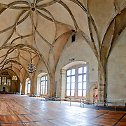 Panorama of the interior of Vladislav Hall in Prague Castle