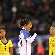 Carli Lloyd, USA, celebrates a goal from team mate Crystal Dunn during the USA Vs Colombia, Women's International friendly football match at the Pratt & Whitney Stadium, East Hartford, Connecticut, USA. 6th April 2016. Photo Tim Clayton