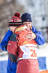 February 18, 2018 - Pyeongchang, Gangwon, South Korea - Alex Beaulieu-Marchand of Canada, silver medal and Oystein Braaten of Norway, gold medal hugging after slope style for men at phoenix park, Pyeongchang,  South Korea on Febuary 18, 2019. (Credit Image: © Ulrik Pedersen/NurPhoto via ZUMA Press)