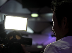 """September 27, 2016 - Los Angeles, California, U.S - Cheese boxer Zou Shiming talks during a interview in a press conference on September 27, 2016 in Los Angeles. Three action-packed world championship fights (NONITO DONAIRE VS. JESSIE MAGDALENO îSCAR VALDEZ VS. HIROSHIGE OSAWA ZOU SHIMING VS. PRASITAK PAPOEM) will act as co-main events to the MANNY Ã'PacmanÃ"""" PACQUIAO Ð JESSIE VARGAS World Boxing Organization (WBO) welterweight world title fight, Saturday, November 5, at the Thomas & Mack Center on the campus of the University of Nevada, Las Vegas. (Credit Image: © Ringo Chiu via ZUMA Wire)"""