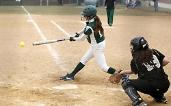 30 March 2013:  Courtney Martin batting during an NCAA Division III women's softball game between the DePauw Tigers and the Illinois Wesleyan Titans in Bloomington IL