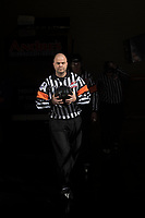 KELOWNA, CANADA - MARCH 31: Referee Chris Crich enters the ice at the Kelowna Rockets against the Kamloops Blazers on March 31, 2017 at Prospera Place in Kelowna, British Columbia, Canada.  (Photo by Marissa Baecker/Shoot the Breeze)  *** Local Caption ***