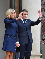 French President Emmanuel Macron and his wife Brigitte Macron at the Elysee Palace in Paris on November 10, 2018 following bilateral talks on the sidelines of commemorations marking the 100th anniversary of the 11 November 1918 armistice, ending World War I. Photo by Christian Liewig/ABACAPRESS.COM