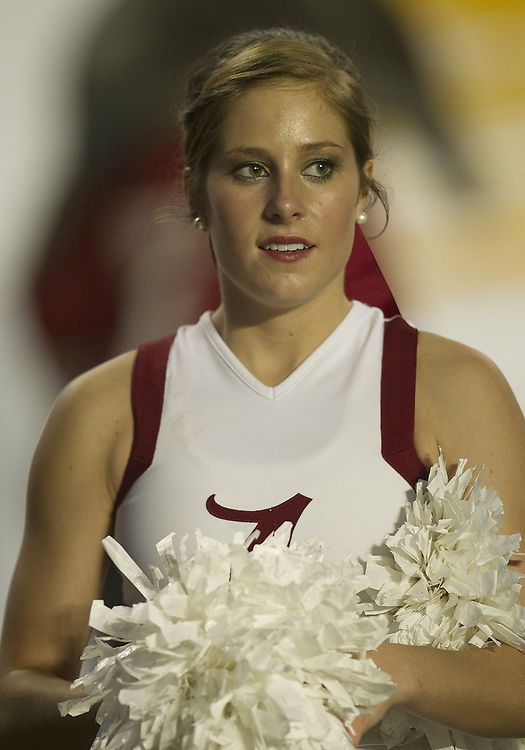 January 7, 2013:  An Alabama cheerleader during the Discover BCS National Championship between the Alabama Crimson Tide and the Notre Dame Fighting Irish at Sun Life Stadium in Miami Gardens, Florida.  Alabama defeated Notre Dame 42-14.