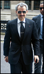 """Saudi Prince Al-Waleed Bin Talal Bin Abdul-Aziz Al-Saud arrives at the High Court to give evidence in a multimillion High Court fight over the sale of an airliner to former Libyan leader Colonel Muammar Gaddafi. Consultant Daad Sharab claims the Prince  owes her around £6.5 million commission for the part she played in a 2005 Airbus deal. Prince Al-Waleed disputes her claim and denies that any agreement was made for a """"specific commission"""", London, United Kingdom<br /> Monday, 1st July 2013<br /> Picture by Piero Cruciatti / i-Images"""