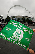 Green Army at Wembley - Plymouth Argyle flag and the Wembley Stadium Arch before to the Sky Bet League 2 play off final match between AFC Wimbledon and Plymouth Argyle at Wembley Stadium, London, England on 30 May 2016. Photo by Graham Hunt.