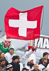 18.02.2011, Kandahar, Garmisch Partenkirchen, GER, FIS Alpin Ski WM 2011, GAP, Herren, Riesenslalom, im Bild feature mit schweizer Fans und Nationalflagge during men's Giant Slalom Fis Alpine Ski World Championships in Garmisch Partenkirchen, Germany on 18/2/2011. EXPA Pictures © 2011, PhotoCredit: EXPA/ J. Groder