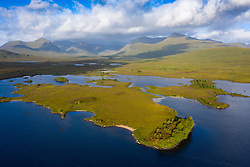Aerial view of Loch Ba on Rannoch Moor in summer, Scotland, UK