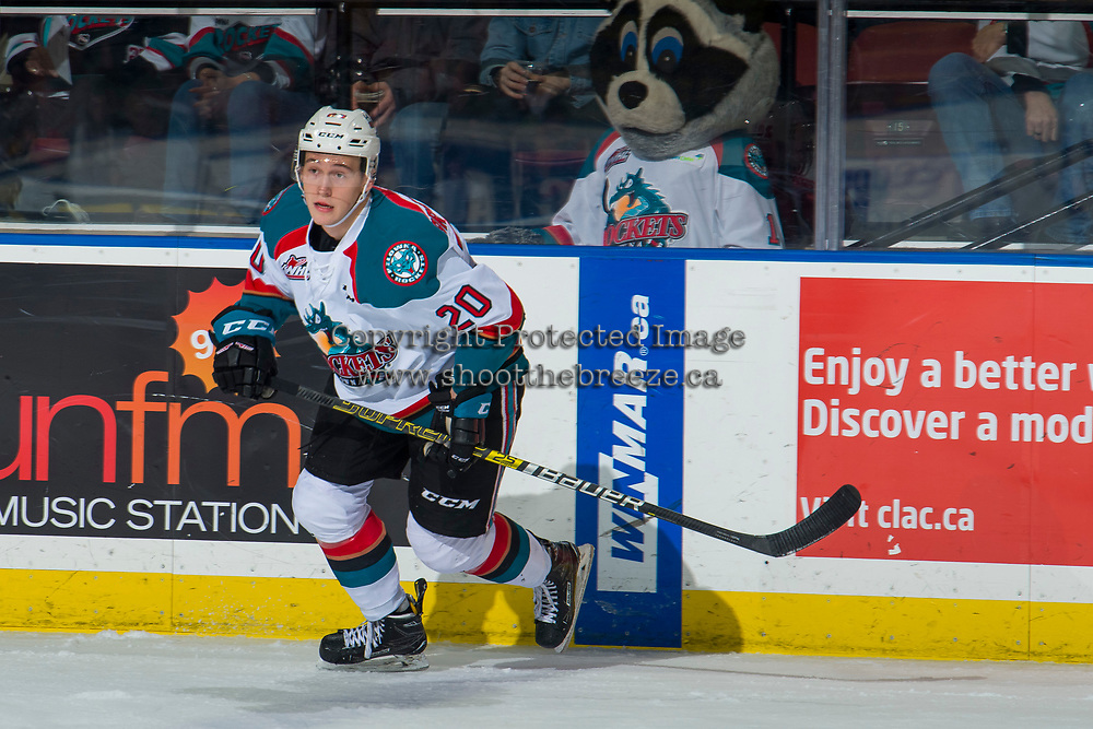 KELOWNA, CANADA - JANUARY 25:  Conner Bruggen-Cate #20 of the Kelowna Rockets skates against the Victoria Royals on January 25, 2019 at Prospera Place in Kelowna, British Columbia, Canada.  (Photo by Marissa Baecker/Shoot the Breeze)