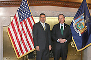 Governor David Patterson and Mayor Bloomberg moments before the Swearing-in of the Honorable David A. Patterson at the 55th Governor of New York  at The New York State Capitol in the Assembly Chambers on March 17, 2008