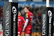 Rhys Patchell of the Scarlets. Guinness Pro14 rugby match, Ospreys v Scarlets at the Liberty Stadium in Swansea, South Wales on Saturday 7th October 2017.<br /> pic by Andrew Orchard, Andrew Orchard sports photography.