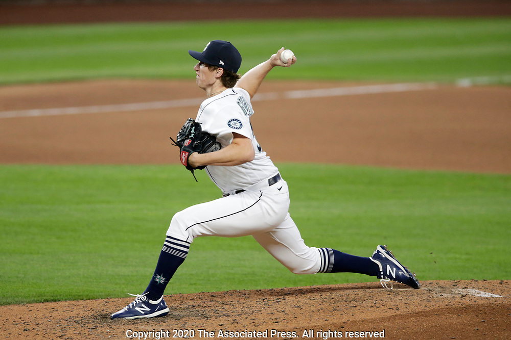 Seattle Mariners relief pitcher Joey Gerber works against the Texas Rangers during a baseball game, Saturday, Aug. 22, 2020, in Seattle. (AP Photo/John Froschauer)