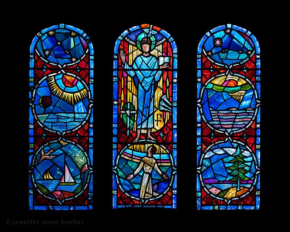 "Window 7 on plan. 55""w x 48.5""h inc. wood frame. <br /> <br /> Saint Mary's by-the-Sea, Northeast Harbor, Maine."