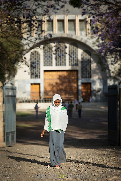 Worshipper at St Mary of Zion Church, Axum. Tigray Region. Ethiopia, Horn of Africa