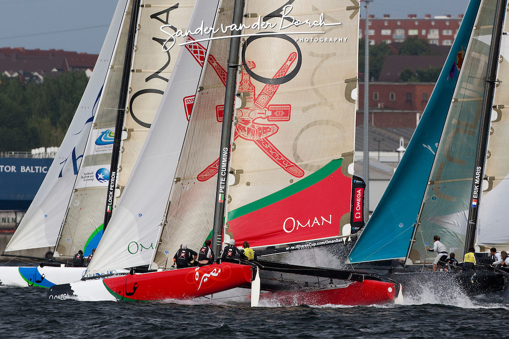 """Kiel - Germany, 28th of August 2009. iShares cup. First day of racing...The first racing day consisting of 8 races. Picture shows the Oman Sail's """"Masirah"""" sailing on opening day of the iShares Cup in Kiel, Germany."""
