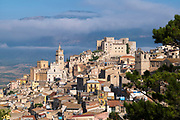Caccamo Castle and ancient hill town with Baroque style architecture in Northern Sicily, Italy