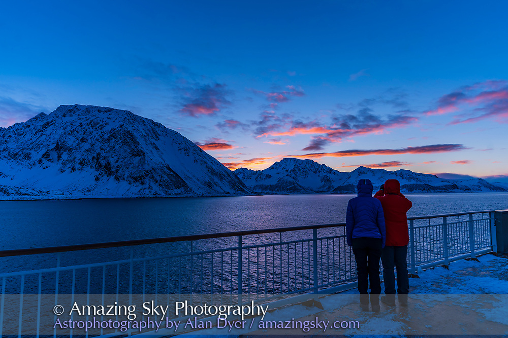 Watching the sunset in Norway from the ms Trollfjord on the southbound voyage, on March 2, 2019.