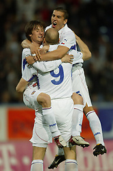 TEPLICE, CZECH REPUBLIC - Wednesday, April 30, 2003: Czech Republic's goalscorer Tomas Rosicky (l) celebrates with team-mates Jan Koller (c) and Milan Baros (r) after netting the first against Turkey during a friendly match at the Teplice Stadion Na Stinadlech. (Pic by David Rawcliffe/Propaganda)