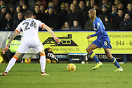 AFC Wimbledon midfielder Jimmy Abdou (8) dribbling during the EFL Sky Bet League 1 match between AFC Wimbledon and Blackpool at the Cherry Red Records Stadium, Kingston, England on 20 January 2018. Photo by Matthew Redman.