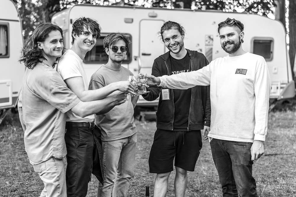 British indie-rock band Cassia and crew backstage at the Open Ohr Festival