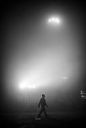 Misty morning at Varanasi train station, Uttar Pradesh, India