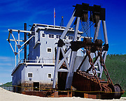 Gold Dredge Number 4, the largest wood hull, bucket-line dredge in North America, Claim Number 17 on Bonanza Creek where operations ceased in 1960, Klondike National Historic Sites, Yukon Territory, Canada.