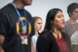 """9 December 2019, Madrid, Spain: Press conference with Greta Thunberg and Fridays for Future, at COP25 in Madrid. """"My story is already well known, so we are lending our voices today to others, whose stories need to be heard,"""" Greta Thunberg said, introducing other young climate activists to share testimonies from around the world."""