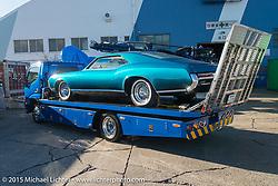 "John D'Agostino's 1968 Buick Riviera ""PANTHEON"" at the docks before the Mooneyes Yokohama Hot Rod & Custom Show. Yokohama, Japan. December 5, 2015.  Photography ©2015 Michael Lichter."
