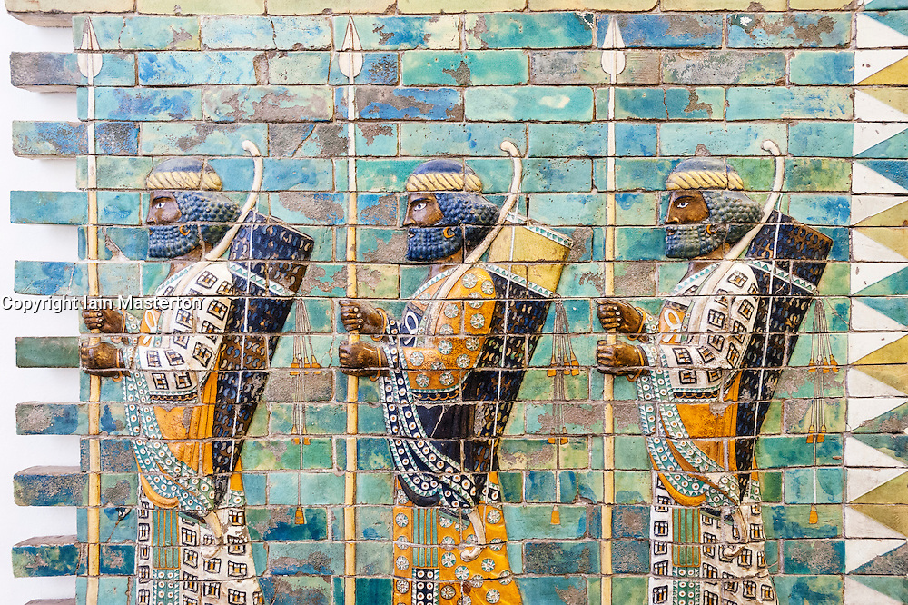 Museum Island,  Pergamon Museum Ancient Assyrian ceramic frieze in Germany, Berlin, UNESCO World Heritage Site