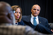 Chancellor Harold L. Martin Sr. and his wife Davida Wagner Martin, chat with T.D. Jakes before the North Carolina Agricultural and Technical State University's spring Chancellor's Speaker Series on Thursday, April 11, 2019.<br /> <br /> (Chris English/Tigermoth Creative)
