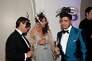 STEPHEN BARROW; LUISELLA BARROW; FRANCIS SULTANA, The Surrealist Ball in aid of the NSPCC. Hosted by Lucy Yeomans and Harry Blain. Banqueting House. Whitehall. 17 March 2011. -DO NOT ARCHIVE-© Copyright Photograph by Dafydd Jones. 248 Clapham Rd. London SW9 0PZ. Tel 0207 820 0771. www.dafjones.com.