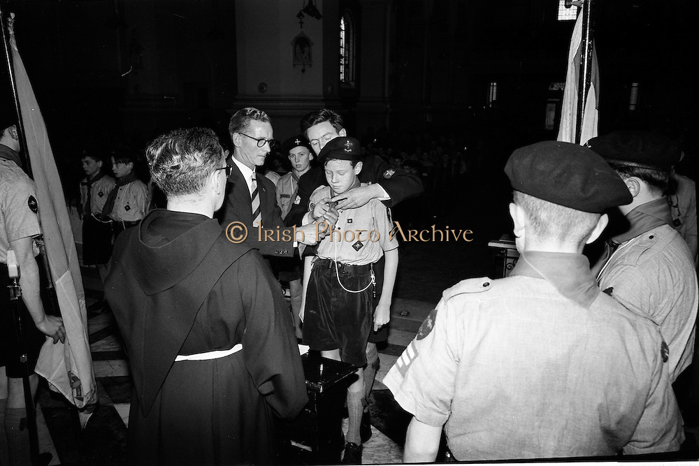 20/01/1963<br /> 01/20/1963<br /> 20 January 1963<br /> CBSI Investiture at Merchants Quay, Dublin. Investiture of 52 Scouts and 30 Macoimh, and presentation of 4 commissions to Scout Masters at the Franciscan Church. Scouts investiture.