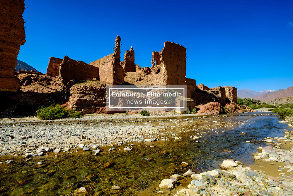 A ruined Glaoui Kasbah on the banks of the Oued N'Fis, Marrakech-Tensift-Al Haouz, Morocco<br /> <br /> (c) Andrew Wilson   Edinburgh Elite media