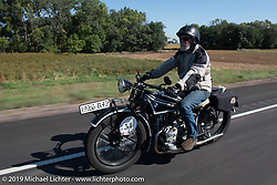 Brent Hansen riding his 1926 BMW R42 in the Motorcycle Cannonball coast to coast vintage run. Stage 8 (314 miles) from Spirit Lake, IA to Pierre, SD. Saturday September 15, 2018. Photography ©2018 Michael Lichter.