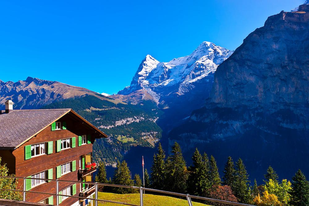 Murren, in the Swiss Alps, with the Eiger behind, Canton Bern, Switzerland