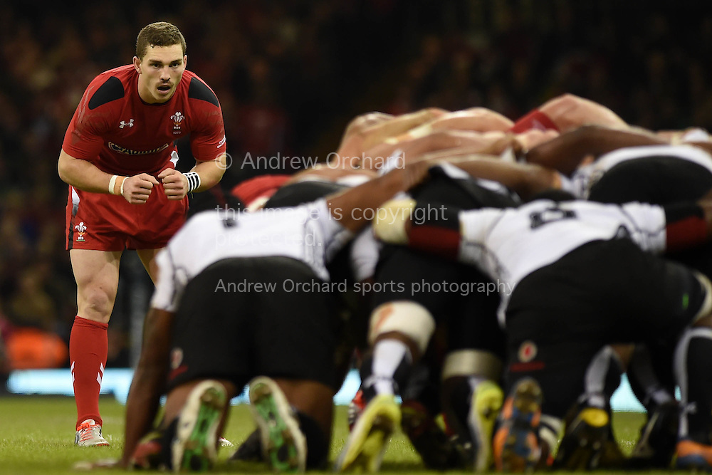 George North of Wales (l) looks on. Dove Men series 2014, autumn international rugby, Wales v Fiji at the Millennium Stadium in Cardiff, South Wales on Saturday 15th November 2014.<br /> pic by Andrew Orchard, Andrew Orchard sports photography.
