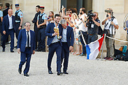 Hugo Lloris and Didier Descamps with trophy in hands, Noel Le Graet during the reception of the French team at Elysée after winning the 2018 FIFA World Cup Russia on July 16, 2018 in Paris, France - Photo Stephane Allaman / ProSportsImages / DPPI