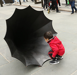 April 27, 2019 - New York City, New York, U.S. - Artwork by NICK CAVE 'UNTITLED, 2018' on display at the Frieze Sculpture exhibit held at Rockefeller Center. (Credit Image: © Nancy Kaszerman/ZUMA Wire)